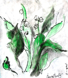 """le muguet"" mixed media on rice paper, 2011, DSH"