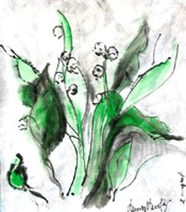 """le muguet"" mixed media on rice paper, 2011, DSH"