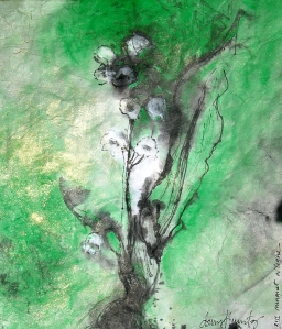 """muguet cologne"" mixed media on rice paper, 2011, DSH"
